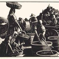 THE GRAPE HARVEST (1928): Clare Leighton piece included in Mint Museum exhibit.