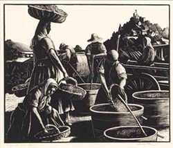 MINT MUSEUM OF ART, GIFT OF GABBY PRATT - THE GRAPE HARVEST (1928): Clare Leighton piece included in Mint Museum exhibit.