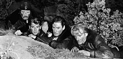 WARNER BROS. - THE GREAT ESCAPE: Alan Hale, Ronald Reagan, Errol Flynn and Arthur Kennedy in Desperate Journey.