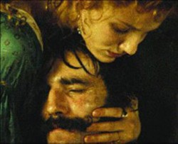 MARIO TURSI/MIRAMAX - THE HAND THAT ROCKS AND CRADLES Cameron - Diaz comforts Daniel Day-Lewis in Gangs of  New - York