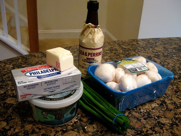 The ingredients: (clockwise) Worcestershire sauce, mushrooms, green onions, Gorgonzola, cream cheese and butter.