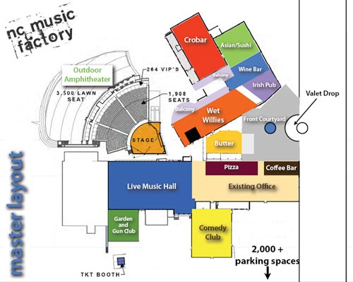 The layout plan for the N.C. Music Factory.