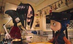 LAIKA ENTERTAINMENT & FOCUS FEATURES - THE MOTHER OF INVENTION: The true nature of Other Mother (voiced by Teri Hatcher) is revealed to Coraline (Dakota Fanning) in Coraline.