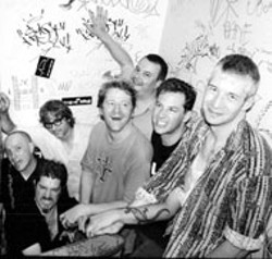 DANNY CLINCH - The original members of Camper Van Beethoven after - a 2003 reunion show (David Lowery, center, laughing)