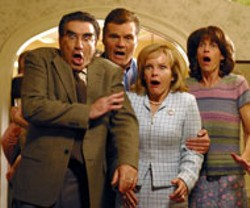 UNIVERSAL - THE PARENT TRAP Eugene Levy, Fred Willard, - Deborah Rush and Molly Cheek react to their kids' - antics in American Wedding