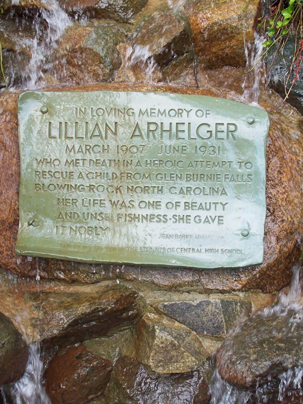 The plaque, which presumably misspelled Glen Burney Falls