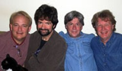 LINDA HUTCHINSON - The Spongetones (l-r: Jamie Hoover, Pat Walters, - Steve Stoeckel and Rob Thorne) celebrate 25 years in - the biz at Amos' on Friday