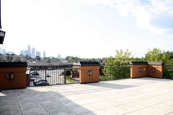 The third floor patio has an impressive view of the Uptown Charlotte skyline.