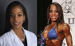 COURTESY OF HARRIET DAVIS - The two sides of Dr. Harriet Davis, Sexiest Vegan Next Door finalist