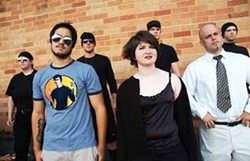 JENNY WRIGHT - THEM'S FIGHTING WORDS: Stephen West-Rogers, Kaddie Sharpe, Diego Francica (front, left-right), Bret Kimbrough, John Michael Coutsos, Kenny Kline and Chris Freeman (back, l-r) put up their dukes in Fight Club.