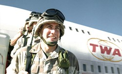 ILM / UNIVERSAL - THEY LOVE TO FLY, AND IT SHOWS Swoff (Jake Gyllenhaal) and his fellow Marines receive air support in Jarhead