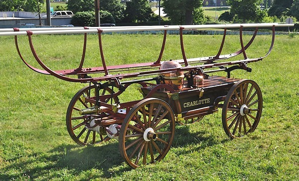 This 1864 Jeffers Hand Pump Fire Engine was the first piece of fire-fighting equipment ever used by Charlotte.
