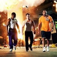 THREE KINGS: Adrian (Anthony Mackie), Daniel (Mark Wahlberg) and Paul (Dwayne Johnson) seek to improve their lots in life in Pain & Gain. (Photo: Paramount)