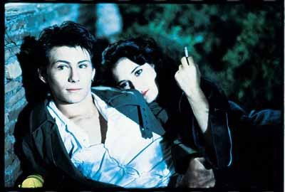 TOO COOL FOR SCHOOL: J.D. (Christian Slater) and Veronica (Winona Ryder) are smokin' in Heathers.