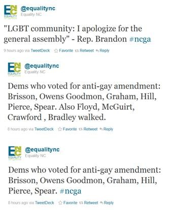 Tweets from EqualityNC following the vote.