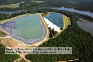 Two of the Charlotte-area's unlined, hazardous coal ash ponds.