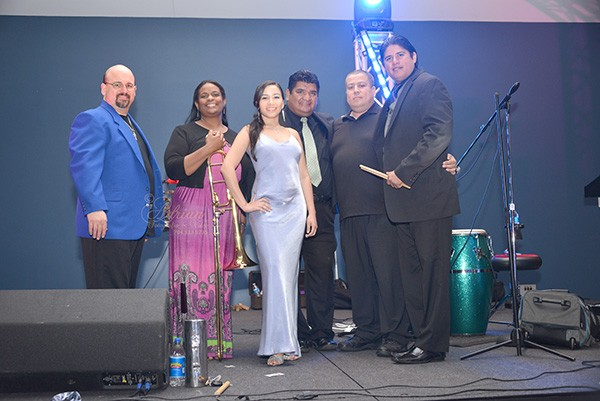 Furia Tropical (from left): singer Sendy Mendez, trombonist Jolanta Wilson, singer Natalia Raigosa, Jose Ayala, lead singer Fredy Suarez, and percussionist Ricardo Ortega. (Not pictured: Bernard Torres, Bryan Torres and Kairy Bautista.)