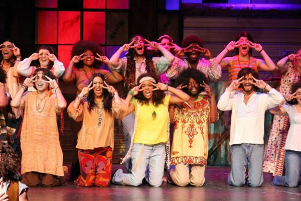 A multimedia superstar: Walker (foreground, third from right) in 'Hair.'