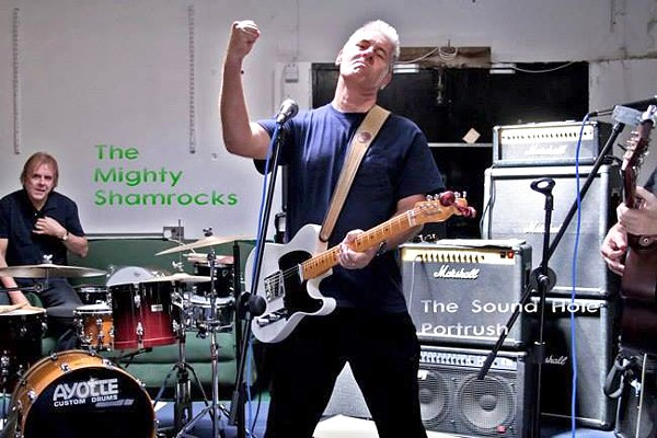 Stephens (foreground) rehearses with the Shamrocks for their 2012 reunion tour.