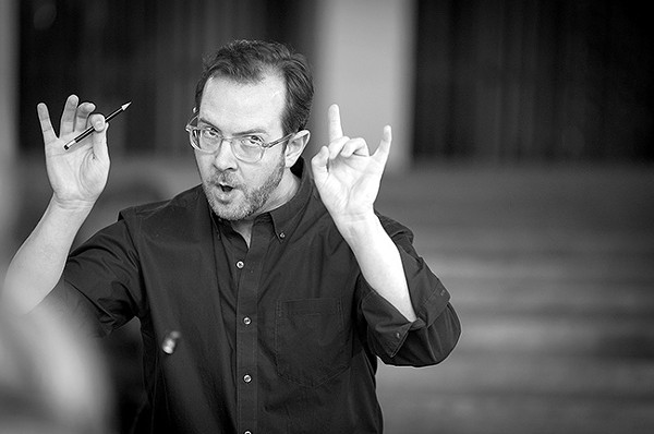 Scott Allen Jarrett is passionate about Bach, pencils and flashing the heavy-metal devil horns. (Photo by Gary Payne)