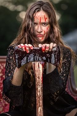Katy Shepherd as Lizzie Borden.