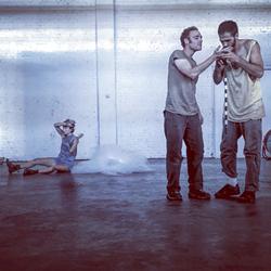 XOXO rehearses 'All Our Little Innocence (The Children's Crusade).' Kadey Ballard, Jon Prichard, Will Rudolph (Photo Courtesy of XOXO)