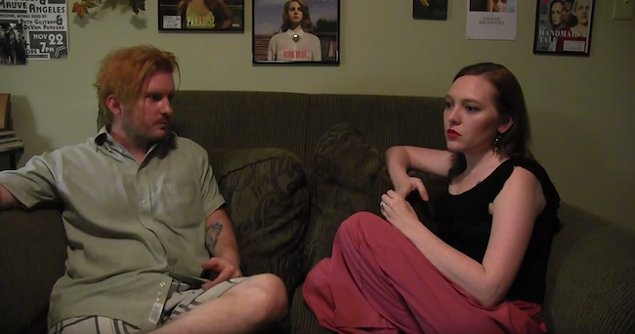 Devan Penegar (left) and Camille Dalke-Rogers discuss their work in a still from their own documentary.
