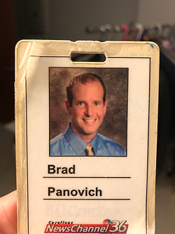 Panovich still has the badge made on his first day at WCNC on Jan. 1, 2003.