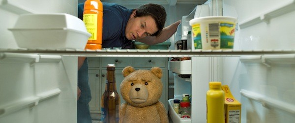 Mark Wahlberg and the Seth MacFarlane-voiced bear in Ted 2 (Photo: Universal)