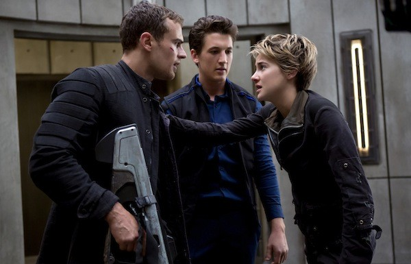 Theo James, Miles Teller and Shailene Woodley in The Divergent Series: Insurgent (Photo: Lionsgate)