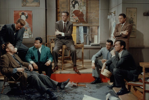 Robert Stack (seated left), Robert Ryan (center), Robert Quarry (seated right) and DeForest Kelley (standing right) in House of Bamboo (Photo: Twilight Time)
