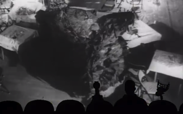 The MST3K gang watches the killer-carpet movie The Creeping Terror (Photo: Shout! Factory)