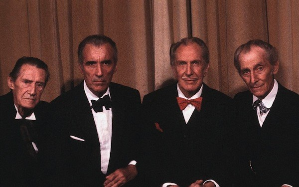 John Carradine, Christopher Lee, Vincent Price and Peter Cushing in a publicity shot for House of the Long Shadows (Photo: Kino)