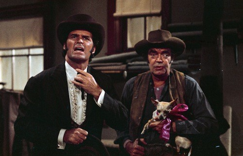 James Garner and Jack Elam in Support Your Local Gunfighter (Photo: Kino)