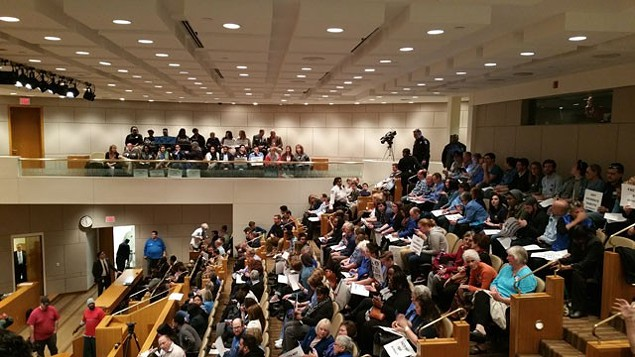 Residents packed the city council meeting in March 2015 during which residents spoke both in support and opposition to a new nondiscrimination ordinance. - PHOTO BY KIMBERLY LAWSON