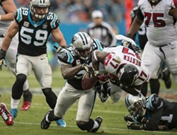 The Panthers will be wearing their black jerseys with silver pants on Super Bowl Sunday. - MELISSA MELVIN-RODRIGUEZ