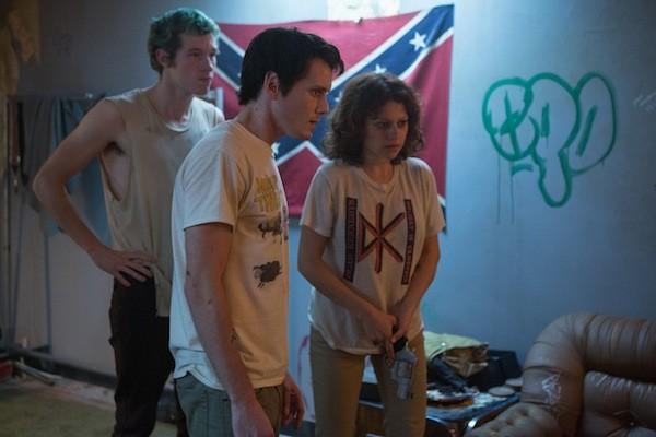 Callum Turner, Anton Yelchin and Alia Shawcat in Green Room (Photo: A24)
