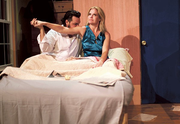 """Robert Lee Simmons as """"He"""" and Lisa Hugo as """"She"""" in Stage Kiss. (Photo by George Hendricks Photography)"""