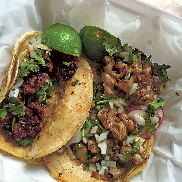 Tacos (chorizo and pork) from Tamaleria Laurita. (Photo by Chrissie Nelson)