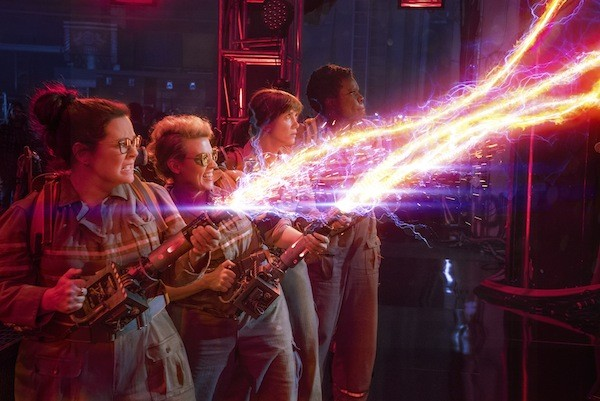 Melissa McCarthy, Kate McKinnon, Kristen Wiig and Leslie Jones in Ghostbusters (Photo: Columbia)
