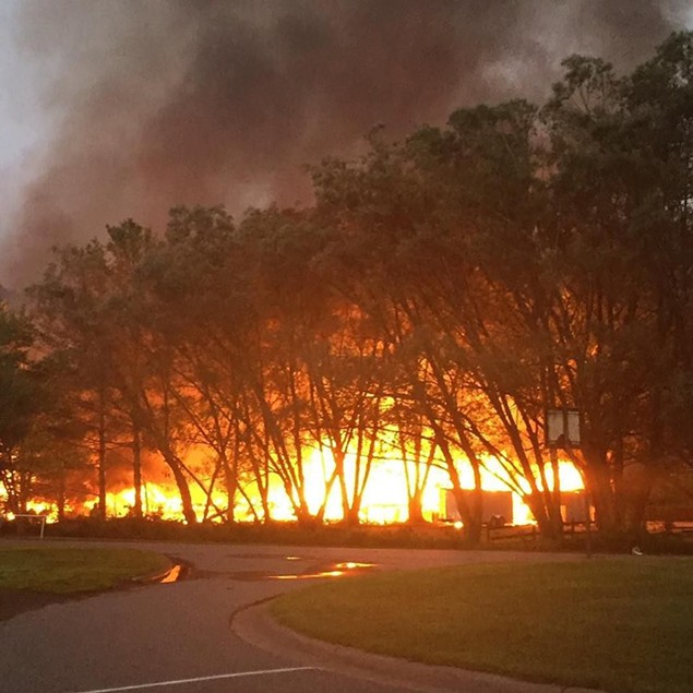 Photo of Valle Landing fire submitted to Watauga Online. - PHOTO SUBMITTED BY BALD GUY BREW COFFEE ROASTING COMPANY