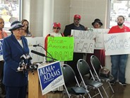Alma Adams at a Charlotte press conference in March.