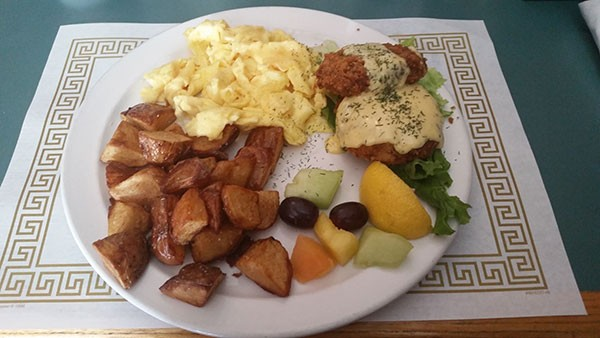 Salmon cakes and egg scramble with fruit at Letty's (Critics' Best Brunch)