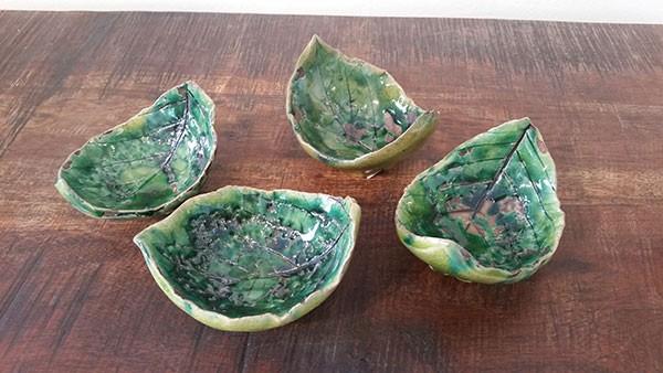 Small leaf bowls by local potter Paula Smith at Lark & Key.