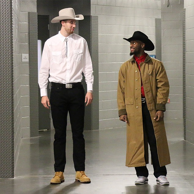 Kemba Walker (right) and his deputy Frank Kaminsky in Walker, Texas Ranger.