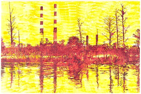 LV Sutton Electric Plant on the Cape Fear River, oil and glass bead on canvas, 11 x 14 x 1/2 in., 2016.