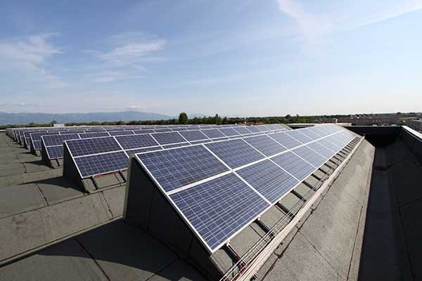 """The """"Roadmap to 100% Renewable Electricity"""" report details a plan for CMS to transition fully to solar energy using photovoltaic systems like the ones pictured above."""