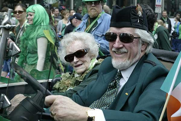 Mary Virginia and son Keegan Federal Jr. bask in the glory of the St. Patrick's Day Parade
