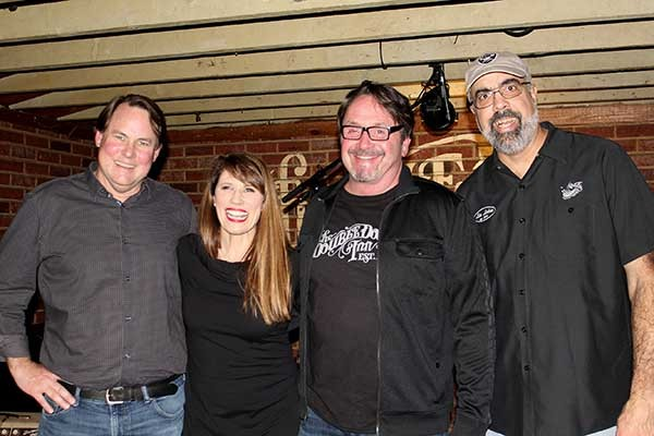 The film crew (from left): Bludsworth, Brattain, Fitts, and author Jay Ahuja. - DANIEL COSTON
