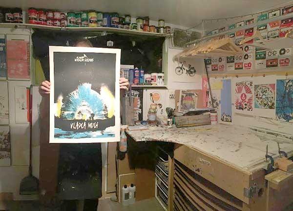 Evan Plante hides away in his home screen printing studio.